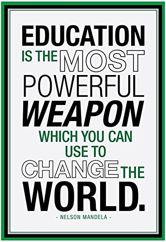 Laminated Education Nelson Mandela Quote Poster 13 x 19in
