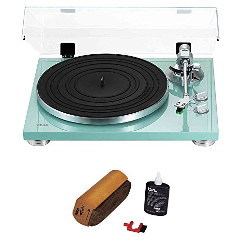 Teac 2-Speed Analog Turntable Turquoise (14-TN-300-TB) with RCA - Green Record Player