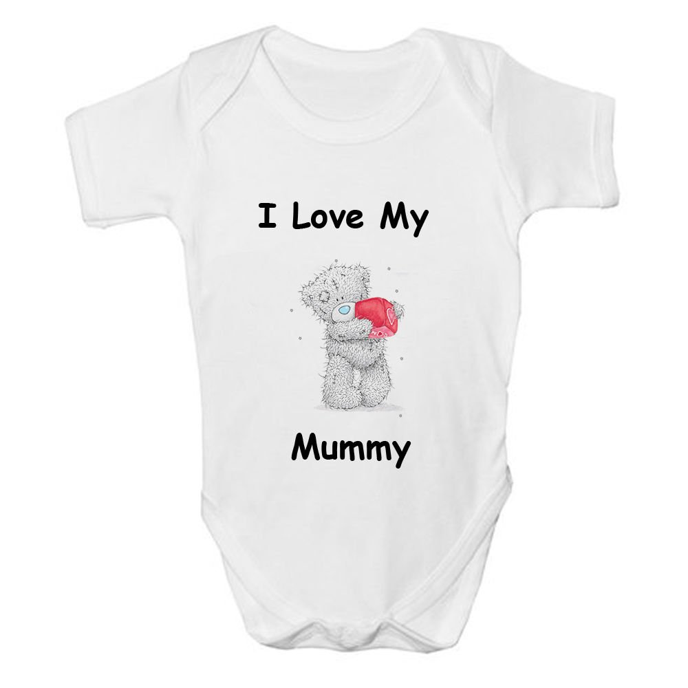 Tatty I Love My Mummy Baby Vest Cute Funny Top Size Boys Girls Bodysuit Grow New