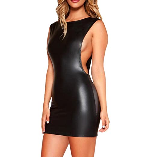 92e35a29bab IEason Women Lingerie Women Faux Leather Wet Look Backless Mini Dress  Bodysuit Clubwear Dress (Free