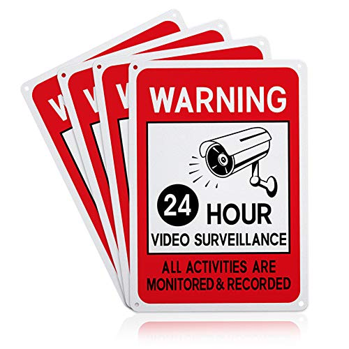 GLOBLELAND 4 Pack Video Surveillance Signs, 7×10 inches 40 Mil Aluminum All Activities Monitored and Recorded Sign for…