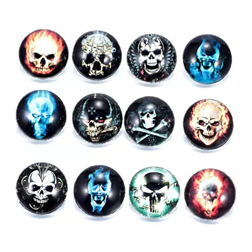 DH Love Halloween Sugar Skull Snap Button Charms for ID Card Badge Holder Office Lanyards Keychain Bracelet (A)