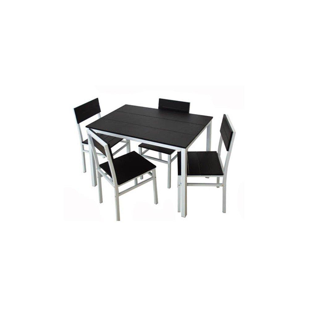 Set Tavolo Tavolino Rettangolare Design Con 4 Sedie Nero Legno e Metallo Arredo Casa -C25 Giardicasa