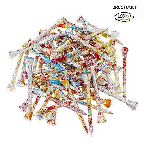 Crestgolf Fantastic 2 3/4(70mm) Wooden Golf tee 100 pcs/bag
