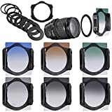 Neewer® Graduated Neutral Density Filter Kit, Kit includes: (3)Graduated ND Filter Set(ND2, ND4, ND8) + (3)Graduated Color Filter Set(Grey,Orange,Blue) + (9)Metal Adapter Rings(49mm, 52mm, 55mm, 58mm, 62mm, 67mm, 72mm, 77mm, 82mm) + (1)Square Filter Holder + (1)Filter Carrying Pouch