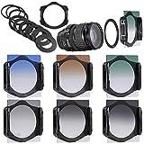 Neewer® Stufenweise Neutral Density Filterset umfasst Set: (3) abgeschufte Grau ND Filter Set (ND2, ND4, ND8) + (3) abgeschufte Farbfilter -Set (grün, orange, blau) + (9) Metall-Adapterringe (49mm, 52mm, 55mm, 58mm, 62mm, 67mm, 72mm, 77mm, 82mm) + (1) Quadratisch Filterhalter + (1) Filter Tragetasche