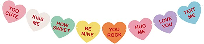 TUPARKA Valentine Conversation Candy Hearts Banner Valentine Candy Hearts Sayings Garland for Valentine's Day Decoration Party Supplies,Pre-Strung