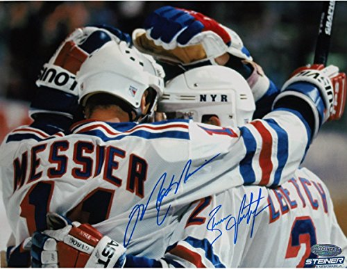 Brian Leetch Signed 8x10 Photo - Brian Leetch/Mark Messier Dual Signed Team Huddle Signed 8x10 Photo