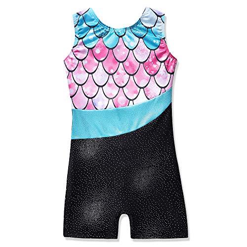 Girls Gymnastics Leotards with Shorts 9t 10t Dance Ballet Unitard Sparkly Meramid Biketard (Mermaid Pink, 150(9-10 years old)) (Leotard Gymnastic For Girls)