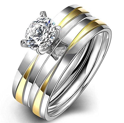 PSRINGS 2pcs/Set Gold Plated Stainless Steel Ring Set Diamond Rings Couple Promise Ring 6.0