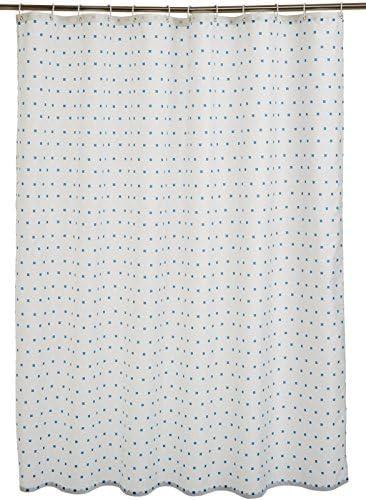 AmazonBasics – Tenda da doccia in tessuto con motivo stampato ad quadretti, 180 x 180 cm, colore: blu