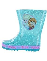 Frozen Girls Disney Flashing Sole Blue Glitter Wellies Boots Child Sizes 6 to 12