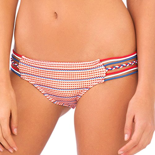 Bottom Bikini Full American Swimwear (Luli Fama Women's American Dream Braided Side Full Bikini Bottom, Multi, Large)