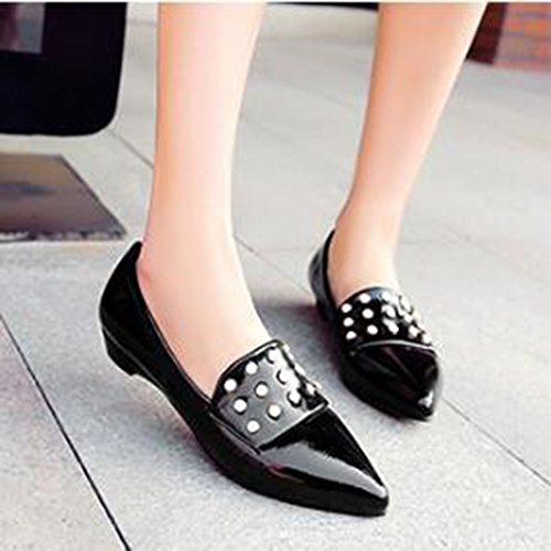 Stylish Pointed Solid Low On Top CHFSO Slip Beaded Shoes Toe Heel Low Black Womens Flats waCpqp5T