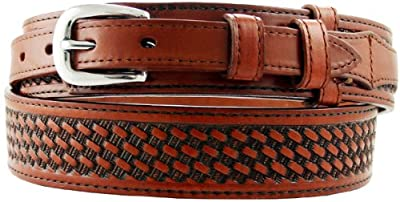 James Western Basketweave Leather Embossed Ranger Belts