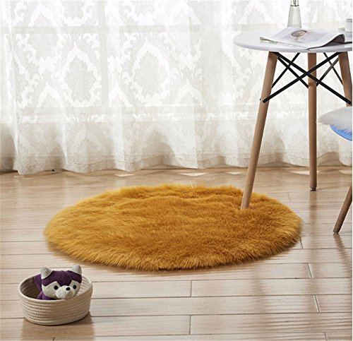 CHITONE Round Faux Fur Sheepskin Rugs, Soft Shaggy Area Rug Home Decorative Bedroom Fluffy Carpet Rug, Diameter 3 Feet, Dark (Gold Faux Fur)