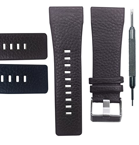 Genuine Leather Watch Band Strap 28mm for DZ1114 - Free Spring Bar Tool (Brown) ()