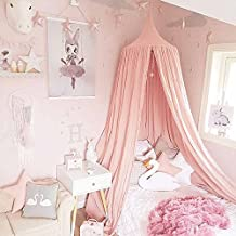 Princess Bed Canopy Mosquito Net for Kids Baby Crib, Round Dome Kids Indoor Outdoor Castle Play Tent Hanging House Decoration Reading nook Cotton Canvas Height 240cm / 94.9 inch (Princess Pink)