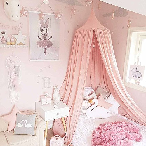 (Dix-Rainbow Princess Bed Canopy for Kids Baby Bed, Round Dome Kids Indoor Outdoor Castle Play Tent Hanging House Decoration Reading Nook Cotton Canvas Coral Pink)