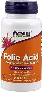 Now Supplements, Folic Acid 800mcg + B-12 25mcg, 250 Tablets