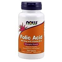 NOW Supplements, Folic Acid 800 mcg + B-12 (Cyanocobalamin) 25 mcg, B Complex Vitamin...
