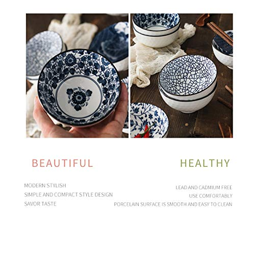 YLee Ceramic Bowl Bone China Cutlery Set Jingdezhen Tableware Chinese Blue and White Porcelain Tableware Kitchen Dining Supplies,C by YLee (Image #4)