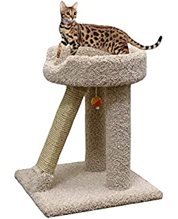 carpet cat scratching pole in beige 24 inch wood cat scratcher sisal post