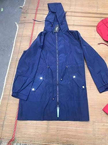 スポーツジャケット防風防雨カジュアルレインコート長袖ジッパーコート単色シンプルなフード付きジャケット-ネイビーブルーM