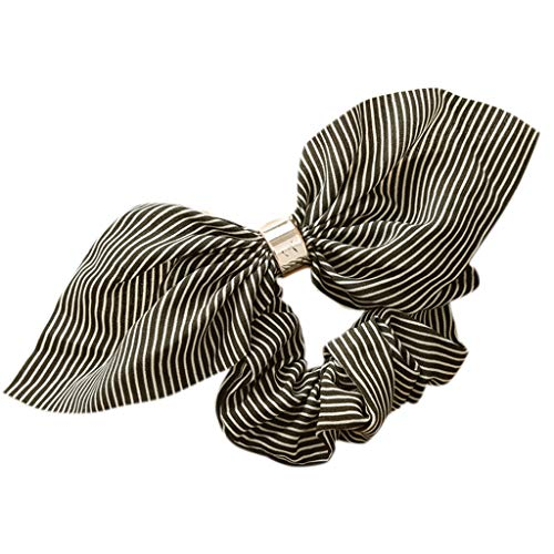 (RingBuu Hair Rope - Women, Chiffon Ruched, Large Intestine Hair Rope Metal Circle Ring Connected Ponytail Holder Stripes Printed Rabbit Ears Bowknot Scrunchies)