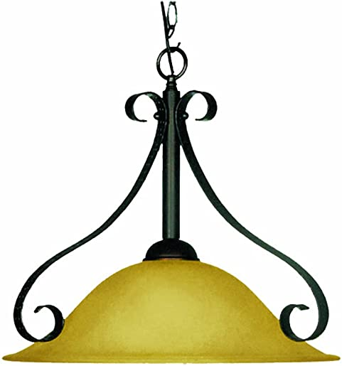Marquis Lighting 8630-OEB-182 Pendants with Streaked Amber Glass Shades, Old English Bronze