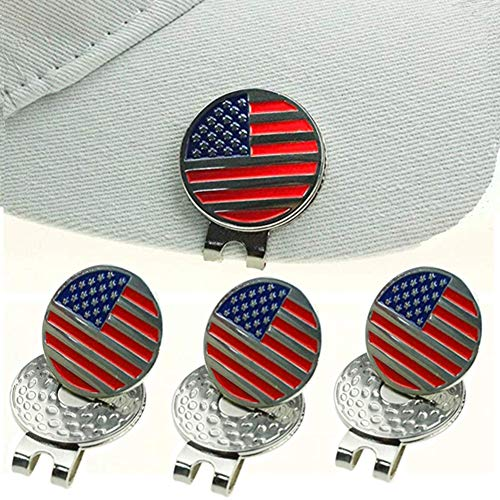 Kofull Golf Hat Clip& Golf Marker with Strong Magnetic US Flag Stainless Steel for You -4/Pack