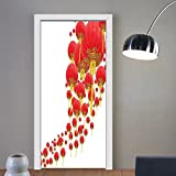 Gzhihine custom made 3d door stickers Lantern Decor Group of Oriental Lanterns in the Air Cultural Belief Show Preparation Deity Life Om Picture Decor Red For Room Decor 30x79