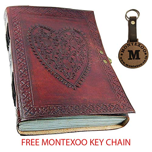 (Leather World Ltd. Large Vintage Heart Embossed Leather Journal/instagram Photo Album (Handmade Paper) - Coptic Bound with Lock Closure)