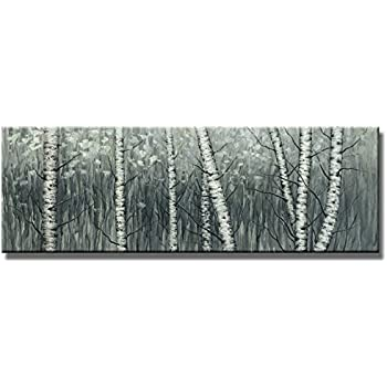 amazon wieco art the birch forest canvas prints wall art grey