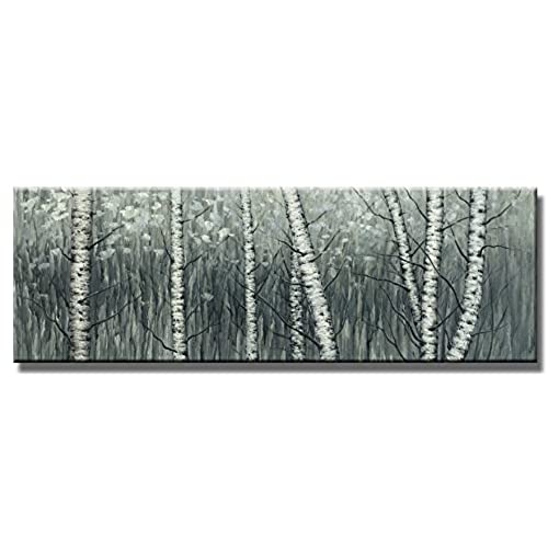 Exceptional Wieco Art   The Birch Forest Modern Grapped Giclee Canvas Prints Artwork  Grey Trees Oil Paintings Reproduction Pictures On Canvas Wall Art For  Living Room ...