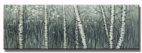 Wieco Art - The Birch Forest Modern Grapped Giclee Canvas Prints Artwork Grey Trees