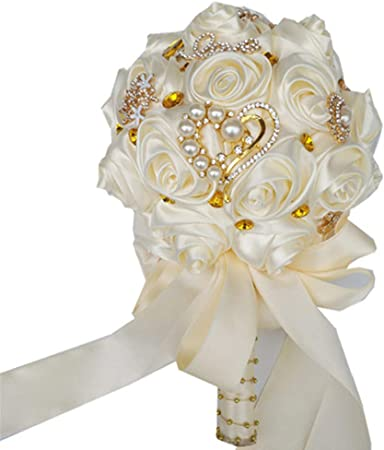 Amazon Com Xnjhms Ivory Cream Brooch Bouquet Wedding Bouquet