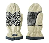Bruceriver Women Snowflake Knit Mittens with Warm Thinsulate Fleece Lining Size L (Beige)