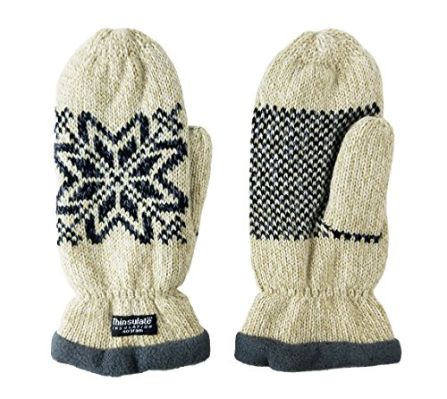 Bruceriver Women Snowflake Knit Mittens with Warm Thinsulate Fleece Lining Size L (Beige) by BRUCERIVER