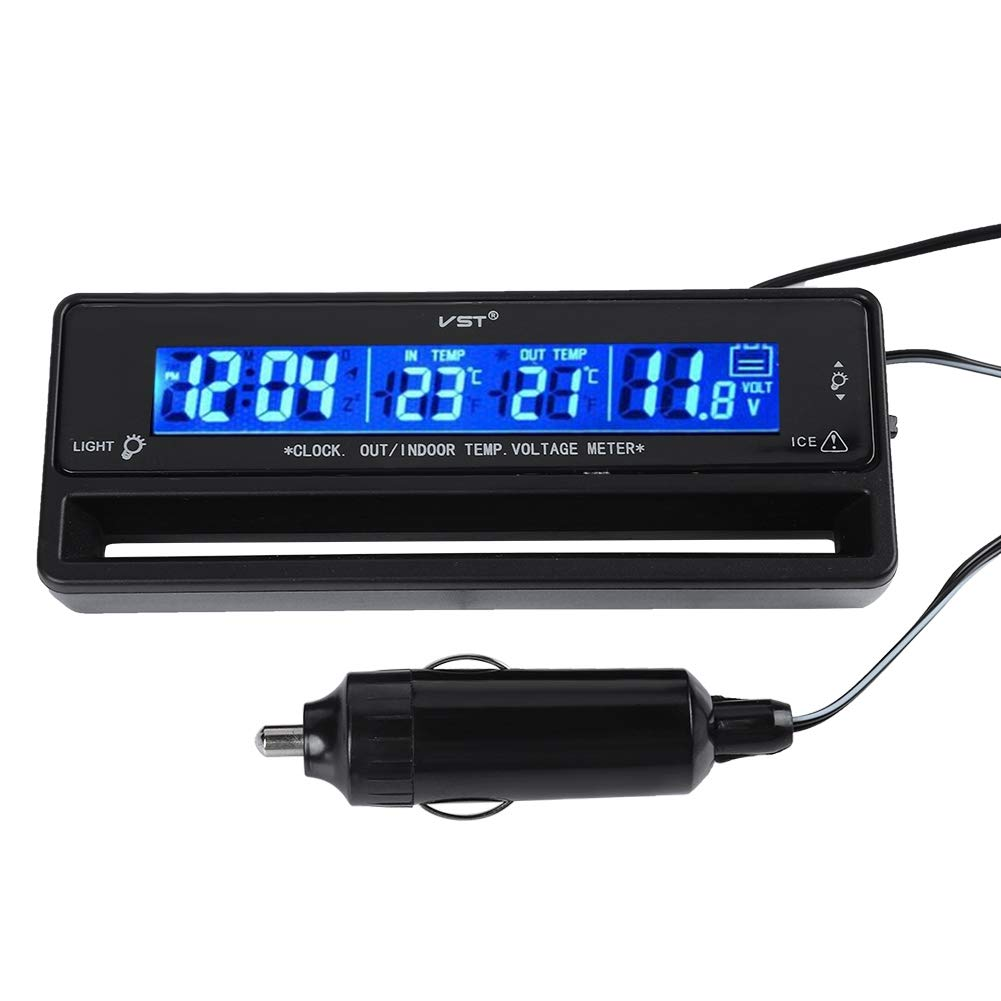 Digital Hygrometer Thermometer, Temperature Display Meter Voltage Monitor with LCD Screen for Car Indoor and Out Semme