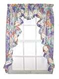 Nelly Country Style Ruffled Floral 3 Piece Swag Curtains Set 96-Inch-by-45-Inch - 1 1/2 Inch Rod Pocket