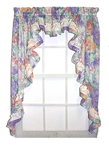 Nelly Country Style Ruffled Lilac Floral 3 Piece Swag Curtains Set 96-Inch-by-38-Inch - 3 Inch Rod ()