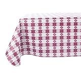 Yourtablecloth Mantel de vinilo a cuadros con respaldo de franela, para restaurantes, picnics, bistros, comedor interior y exterior, blanco, borgoña (Burgundy and White), 52X108 Rectangle/Oblong