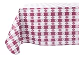 Yourtablecloth Checkered Vinyl Tablecloth with Flannel Backing for Restaurants, Picnics, Bistros, Indoor and Outdoor Dining (Burgundy and White, 52x52 Square)