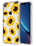 Flower Clear Case Fit iPhone XR Release 2018, Sunflower Girls and Women Floral Back Cover, Transparent Flexible TPU Bumper Shockproof Protective Case