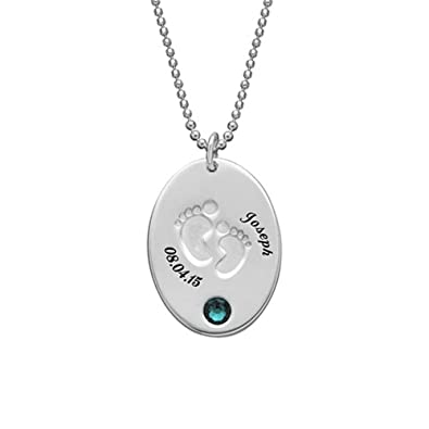 Amazon personalized name necklace custom baby necklace pendant personalized name necklace custom baby necklace pendant engraved footprint necklace with birthstonesilver 14quot aloadofball Choice Image