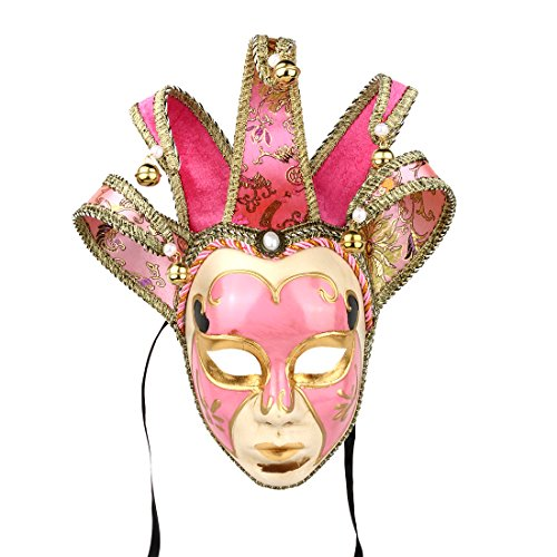 Full Face Venetian Jolly & Jester Mask Masquerade Mardi Gras Wall Decorative Art Collection