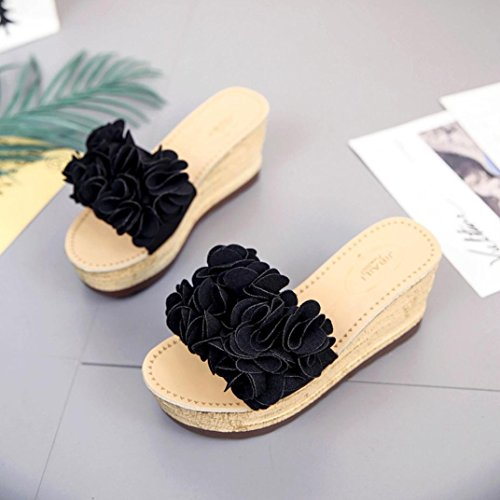 Hatop Fashion Women Summer Floral Platform Women Sandals Wedge Slippers Shoes B sBwwTWGzwl