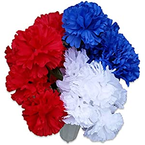 Patriotic Bouquet in Cemetery Vase with Stake Artificial Fake Flowers Bush Bundle of 4 Items- 3 Flower Bushes and 1 Vase (1 Red, 1 White, 1 Blue Carnation Bush w/Vase) 6