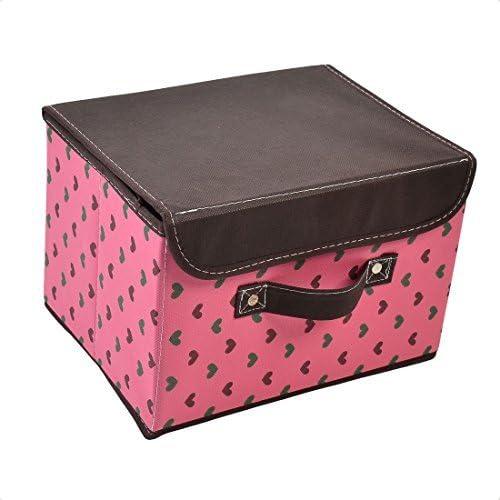 DealMux não-tecido Tecido Coração Padrão Maquiagem Cosméticos Caixa de armazenamento Titular Brown fúcsia: Amazon.es: Oficina y papelería